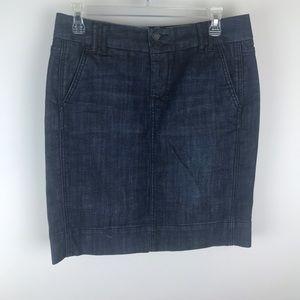Gap Blue Denim Cotton Blend Pocket Pencil Skirt